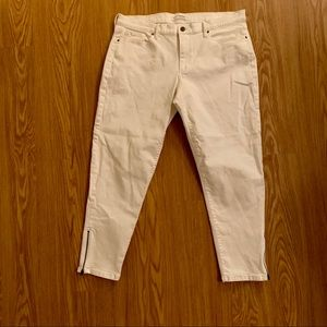 Banana Republic Cropped White Jeans with Ankle Zip
